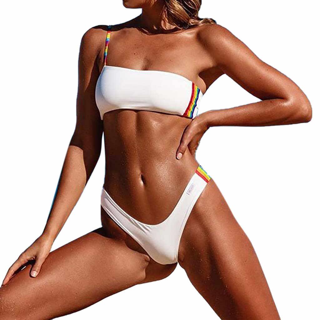 SAGACE Bikini de un hombro para mujer Sexy Tanga brasileña traje de baño Push Up de dos piezas acolchado traje de baño sólido 2019 verano