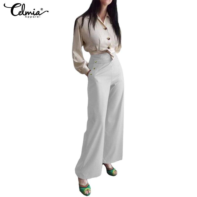 Celmia Elegant Trousers Women   Wide     Leg     Pants   Casual Solid Buttons Office Lady OL Work 2019 High Waist Womens   Pants   Plus Size 5XL