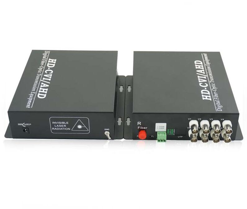 Data Fiber Transmitter And Receiver 8ch AHD/CVI/TVI 3in1 With 1ch RS485 Data/8ch HD 720p, FC, Singlemode,Singlefiber 20km