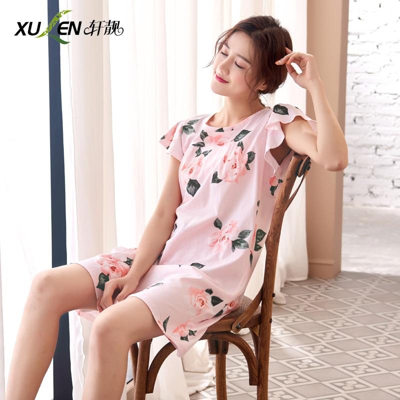 Summer   nightgown   plus size night dress sexy women cotton sleepwear female   nightgown   ladies   sleepshirt   home print clothing