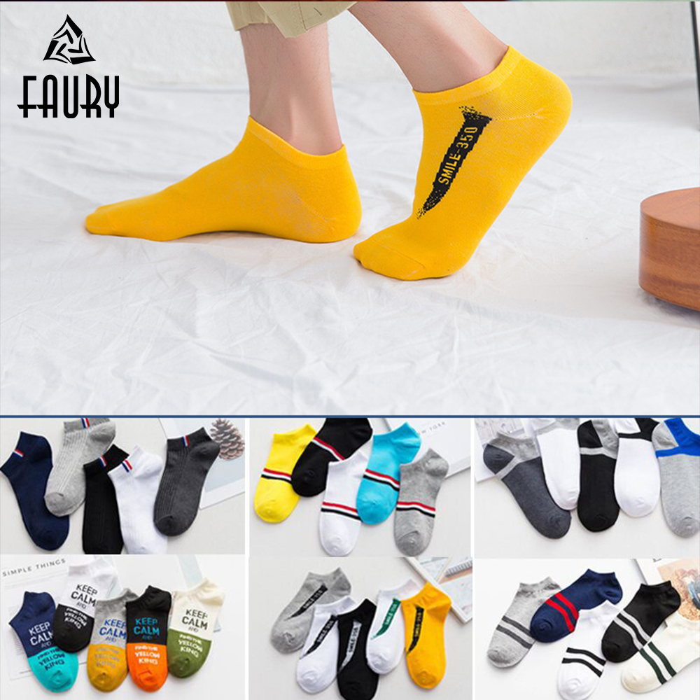 5 Pair/Lot Men Socks Comfortable Cotton Non-slip Invisible Deodorant Boat Socks Male Short Ankle Socks Chaussette Homme