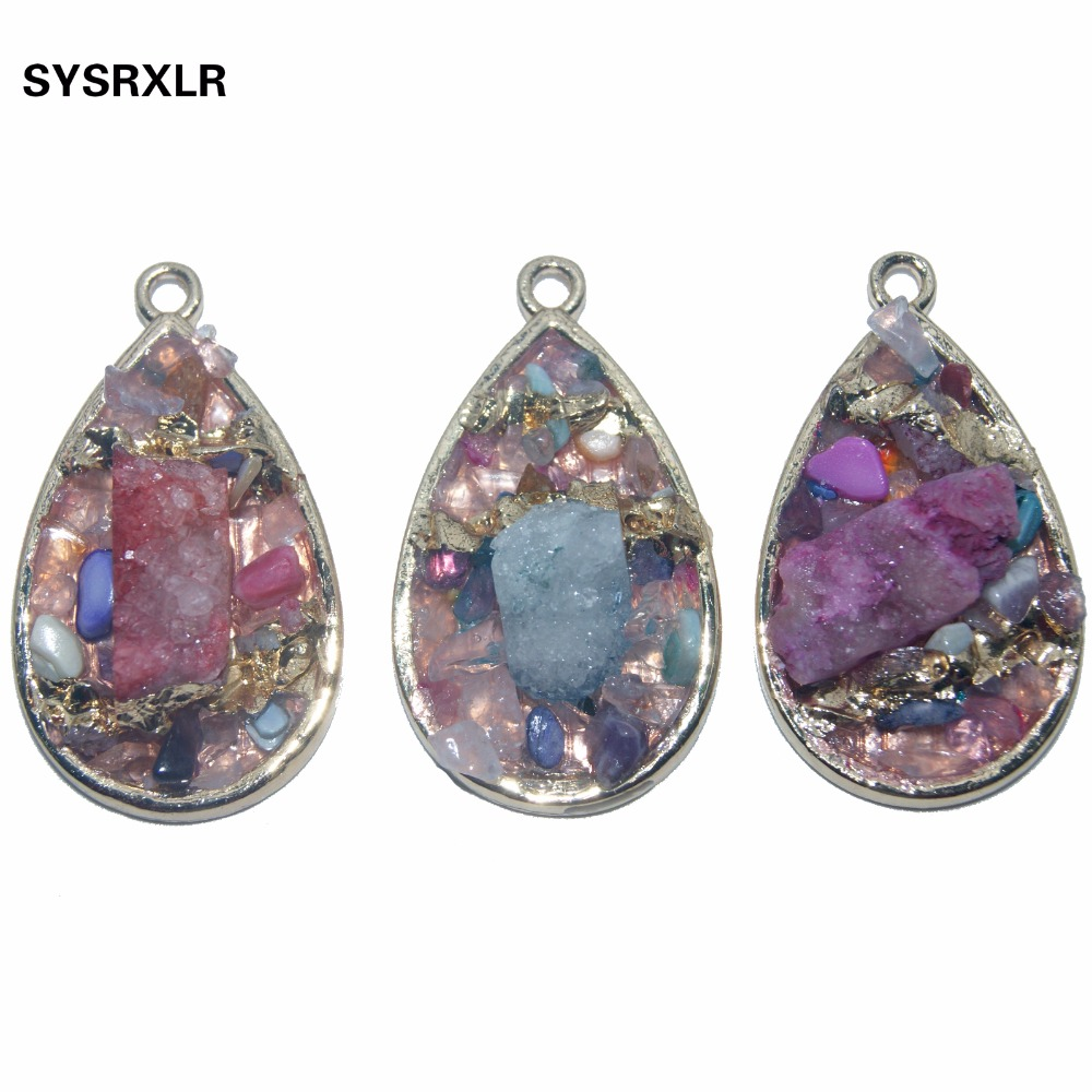 Wholesale Droplet Shape Natural Color Mixing Druse Stone Pendant Golden Plated Geode Women DIY Necklaces For Jewelry Making