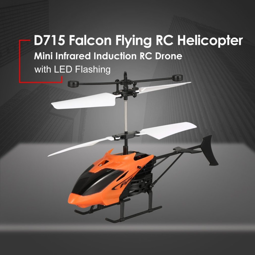 D715 Flying Mini Infrared Induction RC Helicopter Drone Remote Control Aircraft LED Flashing Light Toys Gift For Kids 4 Colors