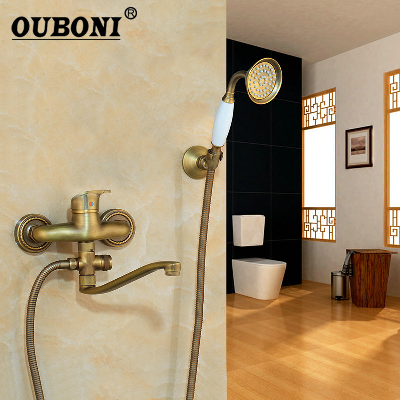 OUBONI Antique Brass Modern Rainfall & Stream Spout Wall Mounted Tap Two Functions Rain Shower Head Faucet Shower Set ouboni modern rainfall