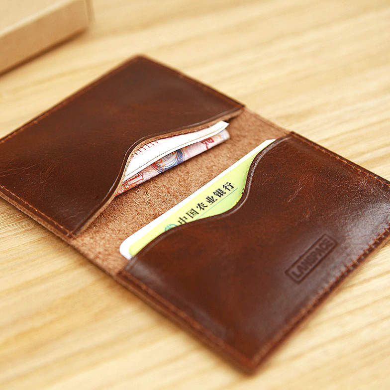 LAN leather mens slim card case fashion slim card case card holder