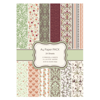 New 24sheets A4 Floral Flower Pattern Paper Pack Decorative Scrapbooking Paper Set Printed Background Craft Paper