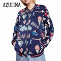 AZULINA Zippers Women Bomber Jacket Coats 2017 Spring Autumn Stand Collar Ice Cream Printed Female Casual Baseball Jacket
