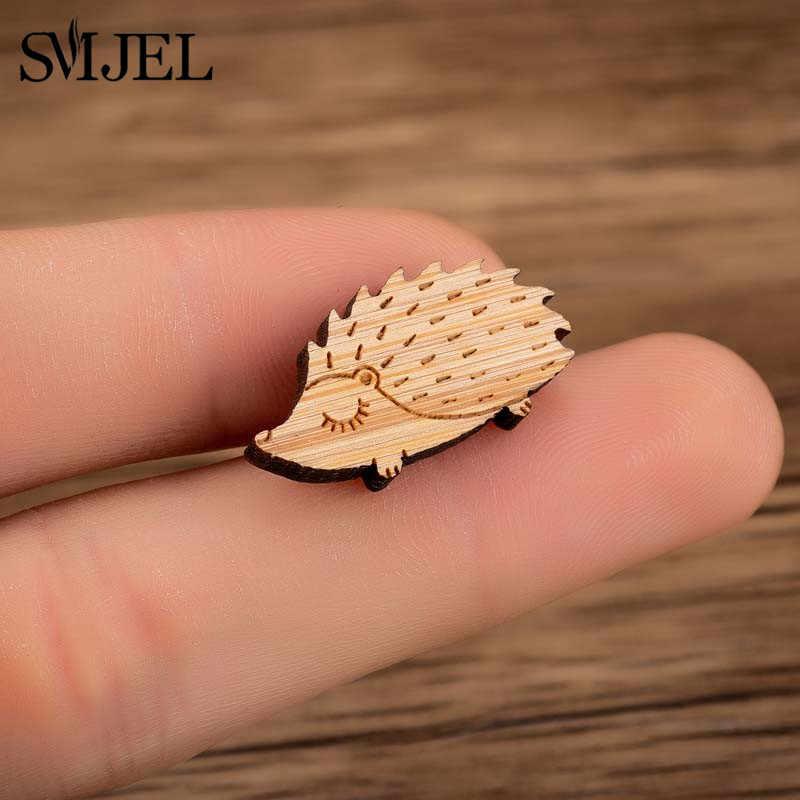 SMJEL ヒップホップ木製ブローチ素敵なクレーンクジラ魚キツネのブローチ女性のための子供 Diy の木製の宝石ラペルピンバッジ帽子 Broches