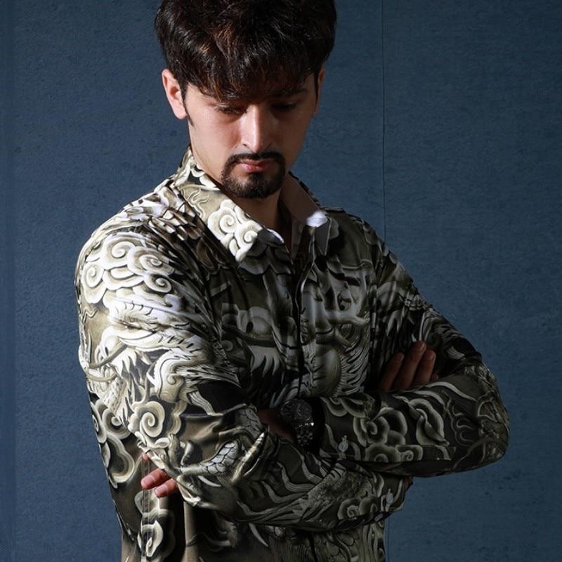 2019 New Chinese Dragon Printing Men Shirts Fashion Casual Luxury Shirts Male Long Sleeve Slim Fit High Quality Tops Streetwear
