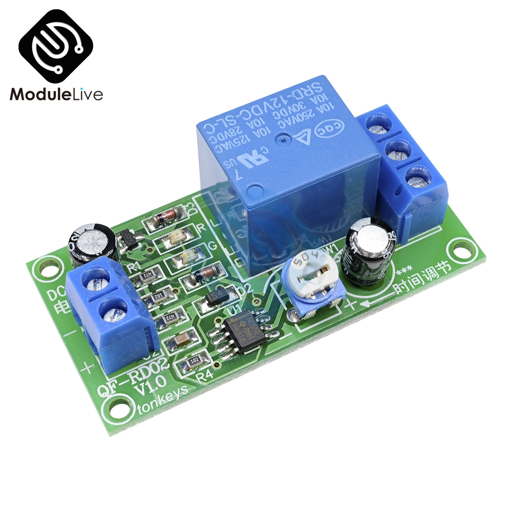 DC 12V Conduction NE555 Delay Timer Switch Adjustable Time Delay Relay Module AC 250V 10A DC 30V Connect Module digital meter charge and discharge tester dc 8 28v control switch dc 0 30v 10a ac 0 250v 10a relay controller