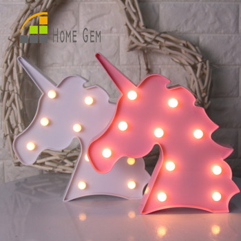 12inch LED Plastic Unicorn Shape Marquee Sign Indoor Room Deration Night Light Luminarias Led Abajur Wireless Wall Lamp For Gift mini hashtag led marquee sign light up marquee light neon light indoor deration wall lamp free shipping