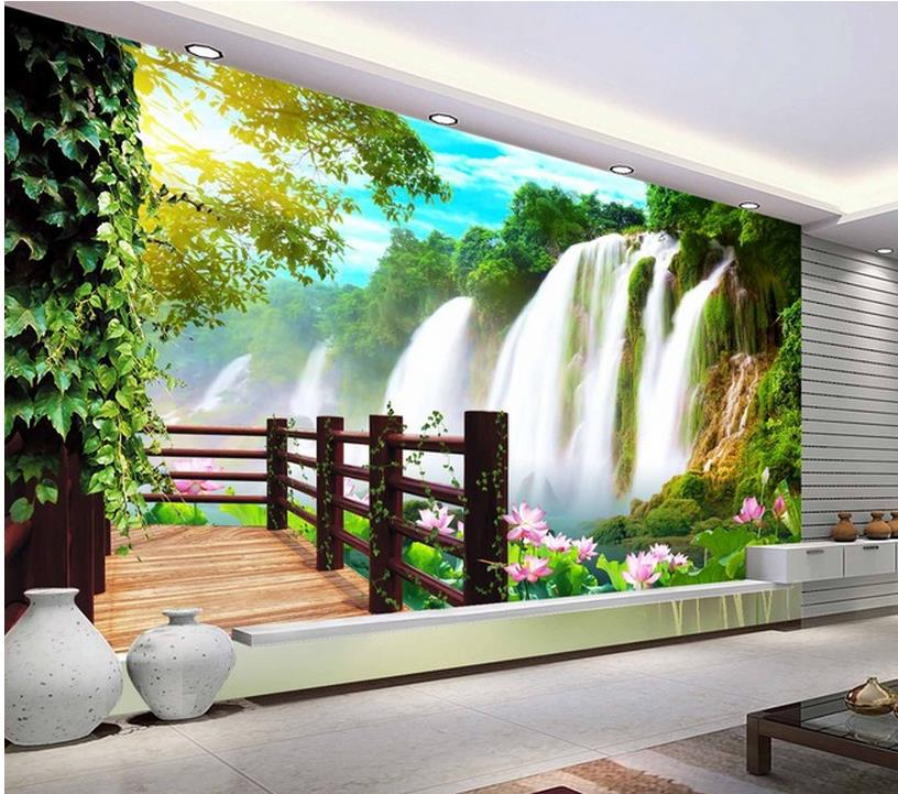 Papel de parede foto gratis mural paisaje cascada para tv for Software decoracion interiores 3d gratis