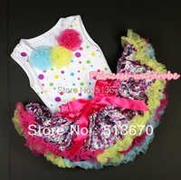 White Rainbow Dots Newborn Pettitop Light Blue Yellow Hot Pink Rosette With Hot Pink Rainbow Floral