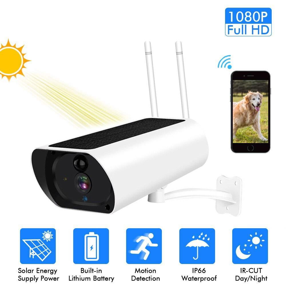 Antena dupla 1080 p de energia solar ip câmera 2mp sem fio wi-fi câmera vigilância segurança à prova dwaterproof água ao ar livre visão noturna ir