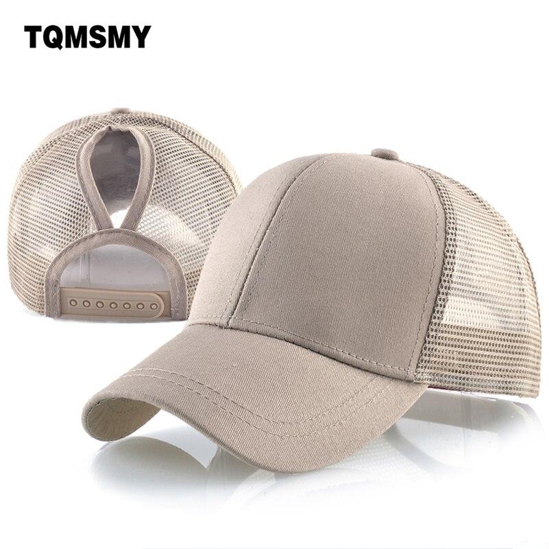 3924210e54a Solid color Ponytail Baseball Cap women sun dad hat mesh Snapback caps Hip  Hop bone Trucker Hats for woman s Cotton Casquette