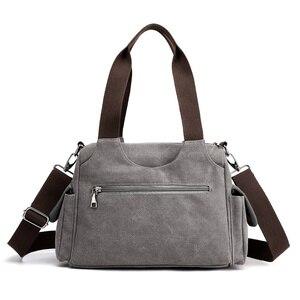 Image 3 - Холщовые дамские сумочки, повседневные Хобо на одно плечо, винтажные однотонные сумки через плечо с несколькими карманами для девушек
