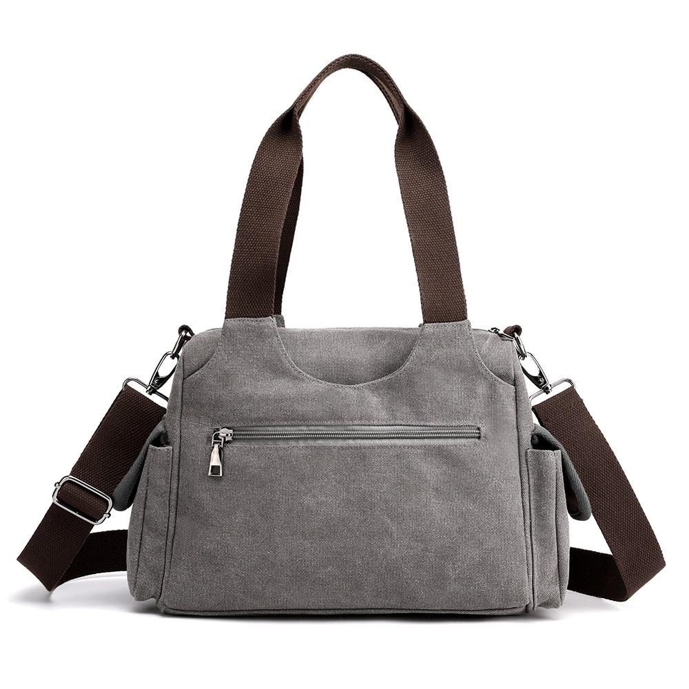 Image 3 - Woman Canvas Handbags Casual lady Hobos Single Shoulder Bags Girls Crossbody Pack Vintage Solid Multi pocket Ladies Totes BolsasTop-Handle Bags   -