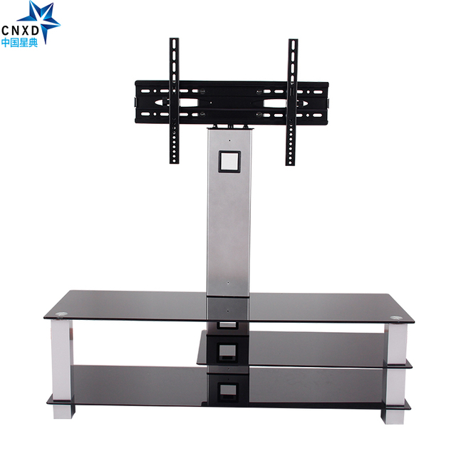 Universal Tilting Adjustable LCD LED Flat Screen TV Table Top Desk Stand  With Glass Base Fits