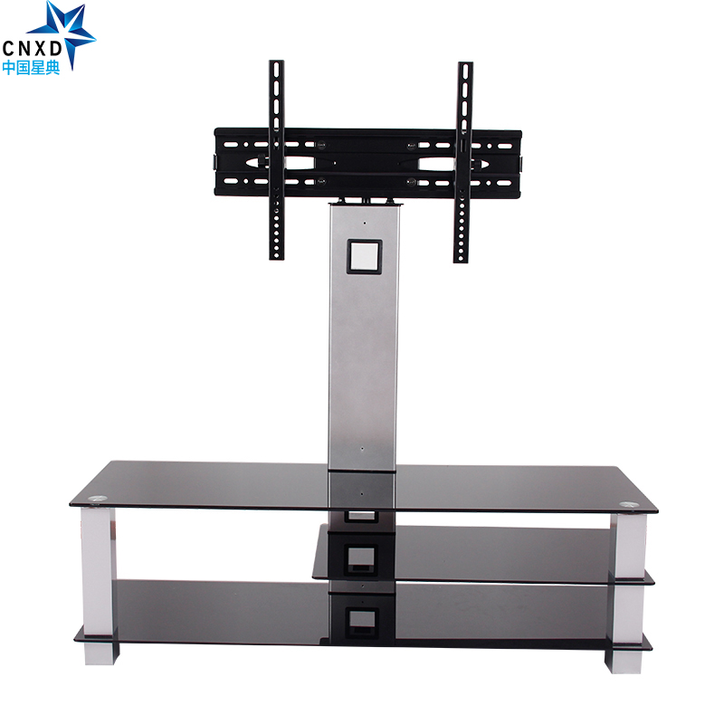 """Universal Tilting Adjustable <font><b>LCD</b></font> LED Flat Screen TV Table Top Desk Stand with Glass Base fits 32\"""" to 65\"""""""