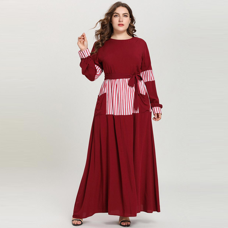 Muslim Women Clothing Arab Striped Patch Long Sleeve Dress with Belt Pockets Robe Dubai Pakistani Dress Vestidos RED GREEN 4XL