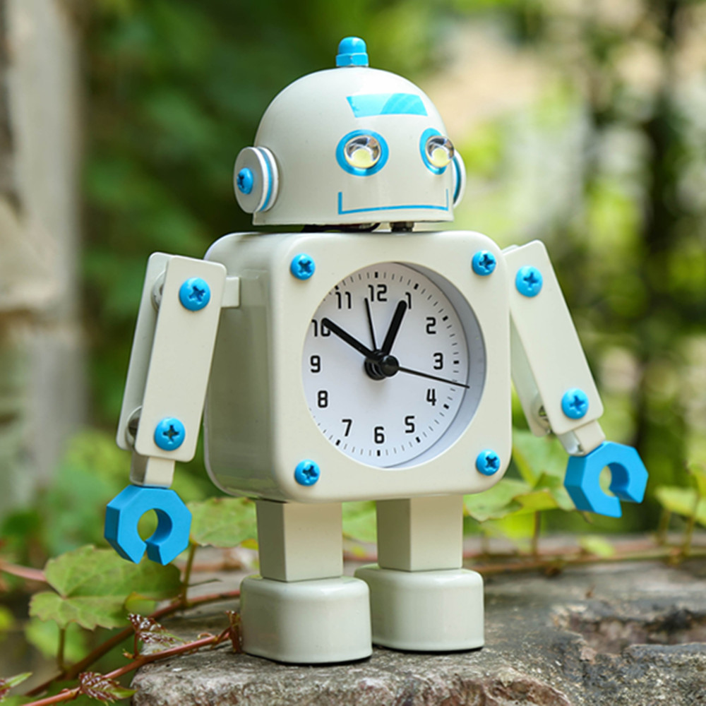Metal Robot Alarm Clock The Alarm Clock with A Night Light Household Act The Role Ofing Is Tasted Students