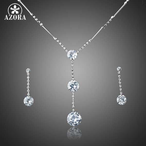 AZORA Hot Sale White Gold Color Stellux Austrian Crystal Water Drop Earrings and Necklace Jewelry Set