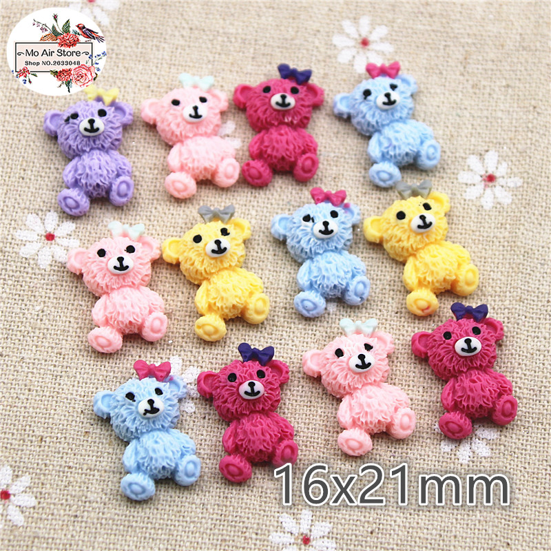 Mixed Color Bear Resin Vintage Color Flatback Cabochon DIY Jewelry/phone Decoration No Hole 20pcs