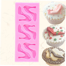 Pink Kitchen Use Baking Tool Silicone High-heel Shoes Design Fondant Cake Molds Chocolate Mould Decoration