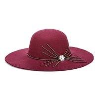 2017 Winter New Hats For Women Soft Vintage Wide Brim Wool Felt Bowler Fedora Hat Floppy