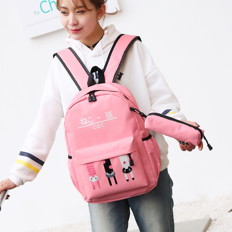 Backpack Korean version of the simple casual college style backpack travel student bag