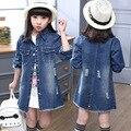 2016 осень новых детей джинсы девушки пальто куртки Корейской моды длинный кардиган куртки