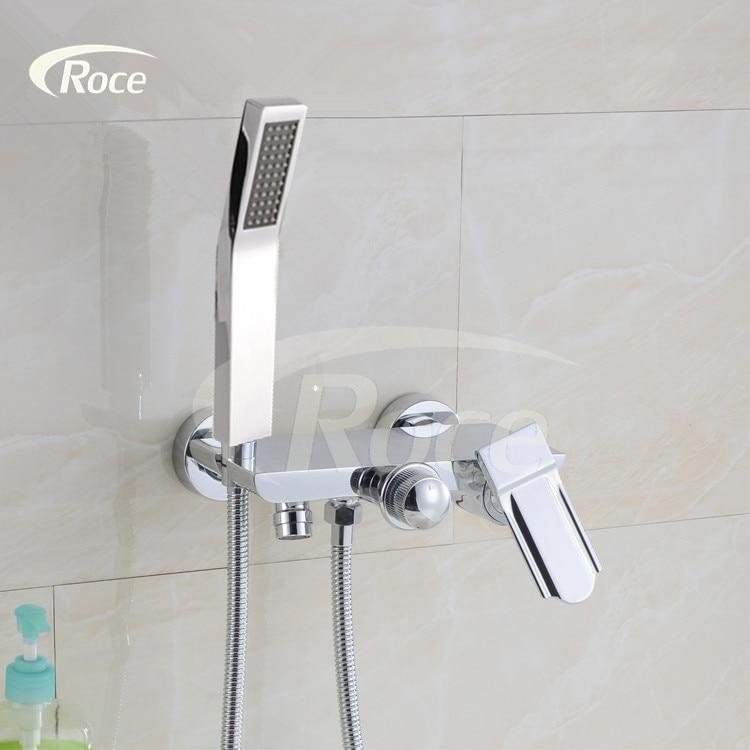 Hot and cold shower faucet triple bathtub faucet copper bath shower shower set pressurized water mixing valve