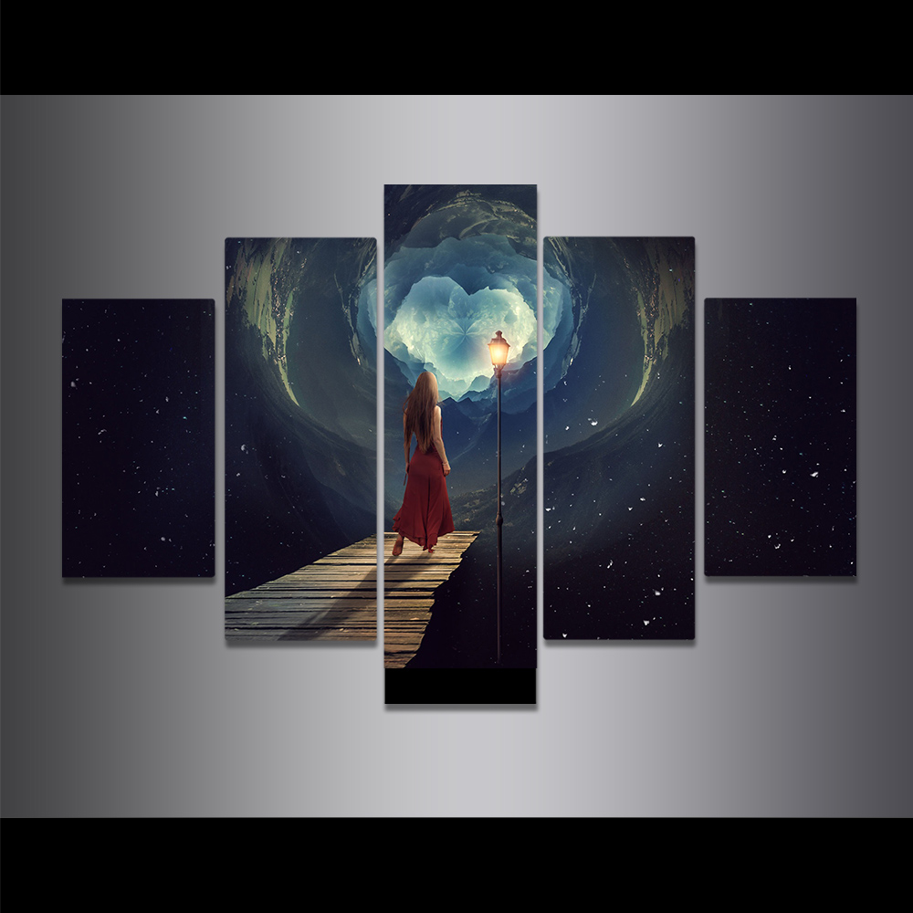 Unframed Canvas Painting Nebula Boardwalk Street Beacon Girl Picture Prints Wall Picture For Living Room Wall Art Decoration