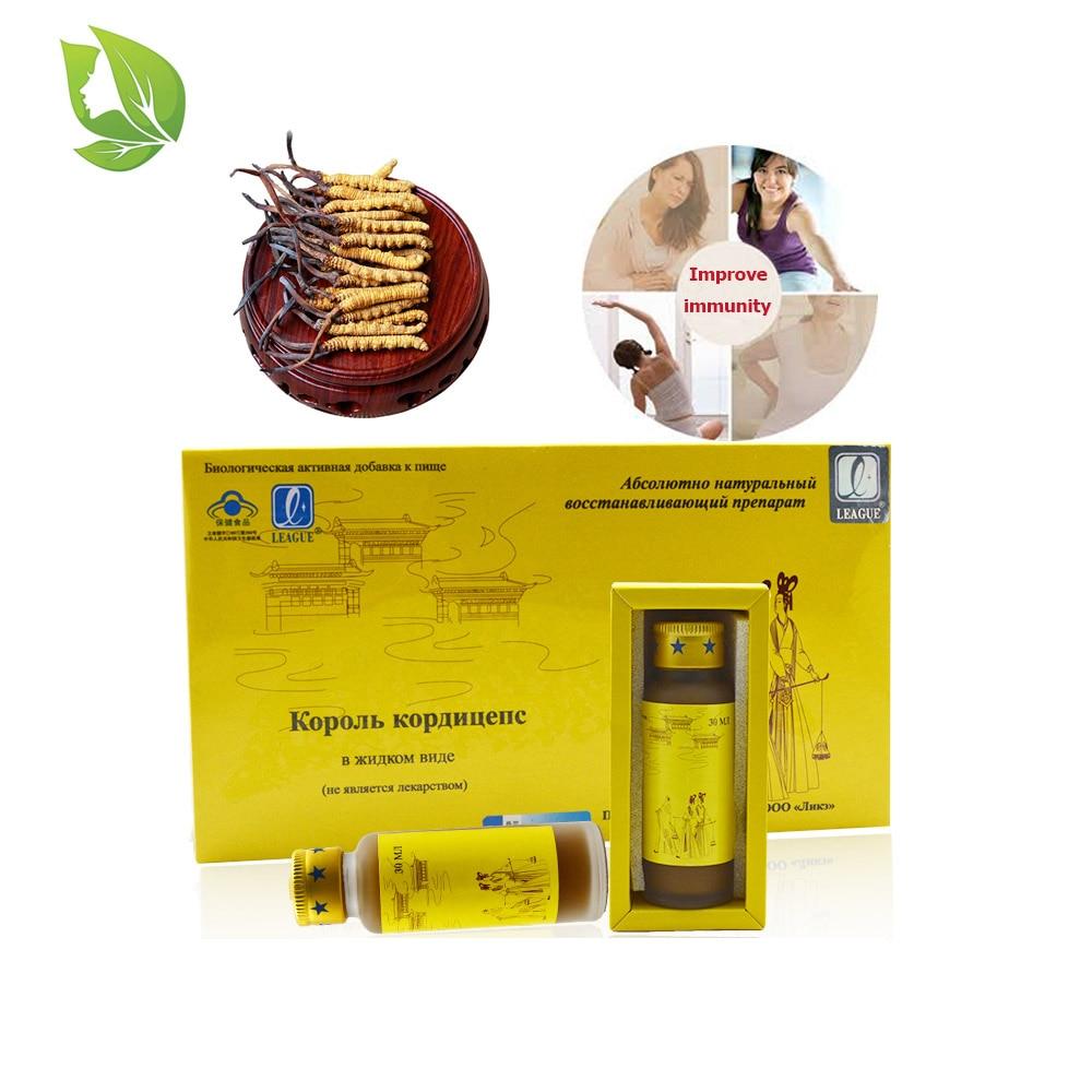 4 botellas / paquete Cordyceps chino Sinensis Soluciones orales Anti cáncer Fatiga Anti envejecimiento Salvaje Ganoderma Lucidum Extracto Líquido
