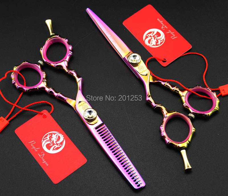 JP440C 5.5Inch Left Hand Cutting Scissors and Thinning Scissors Set Colorful Hair Shears Bamboo Handle for Barbers,1Set LZS0602 30 teeth thinning scissors thinning shears japan quaity 6 thinning scissors for hair salon s styling use