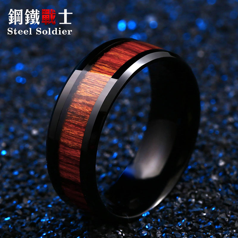 Steel soldier black ring with dark red wood inlay inside ring men unique fashion engagement jewelry titanium ring