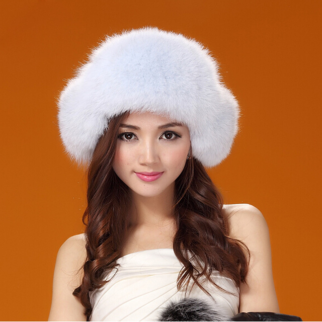 GTC143 women winter warm thermal genuine fox fur bomber cap ladies real fur ear flaps ski russian trapper hat headgear for girl