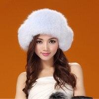 GTC143 women winter warm thermal genuine fox fur bomber cap ladies real fur ear flaps ski russian trapper hat headgear for girl