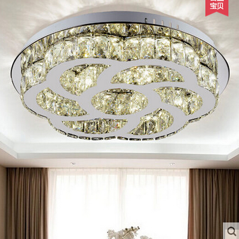 New round LED ceiling light cystal flush mount light crystal ceiling lamp modern LED light for living room