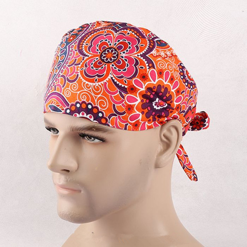 Orange flower pattern european style surgical scrub cap doctor nurse  dentist work hat suitable for all seasons-in Accessories from Novelty    Special Use on ... 80631bec89a