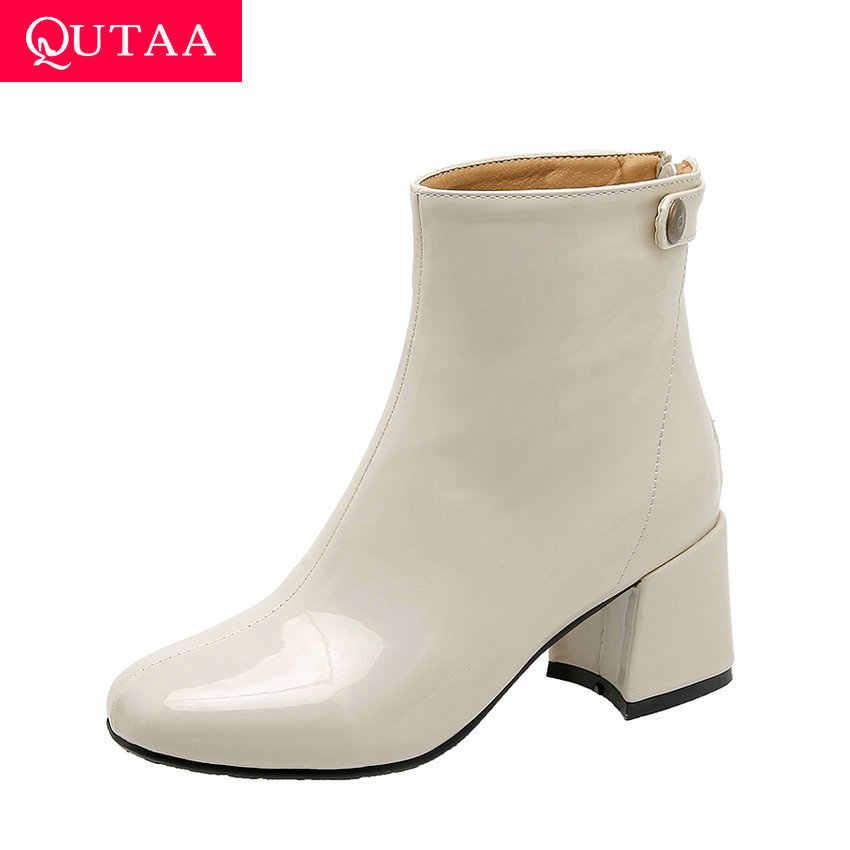 QUTAA 2020 Patent Deri Fermuar Yuvarlak Ayak Dikiş Özlü Kadın Ayakkabı Moda Kare Yüksek Topuk Sıcak Kürk yarım çizmeler Boyutu 34 -43