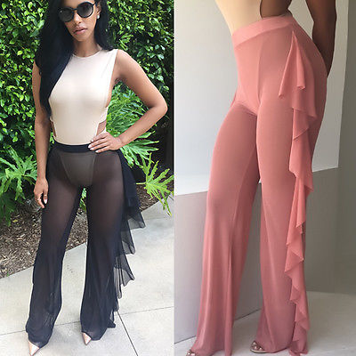 Sexy Women Loose Stretch High Waist Wide Leg Long Pants Cotton Palazzo Trousers Look Through Mesh Summer Flare Pant