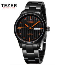 TEZER Luxury Brand Top Relogio Masculino Military Men s Automatic Self Wind Watch Black Stainless Steel