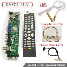 Z. VST.3463.A1 Цифровой сигнал DVB-C DVB-T DVB-T2 7-кнопочный кнопку + 1 Лампа Инвертор + Сигнала 1ch 6bit LVDS кабель универсальный ЖК-ТЕЛЕВИЗОР Водитель