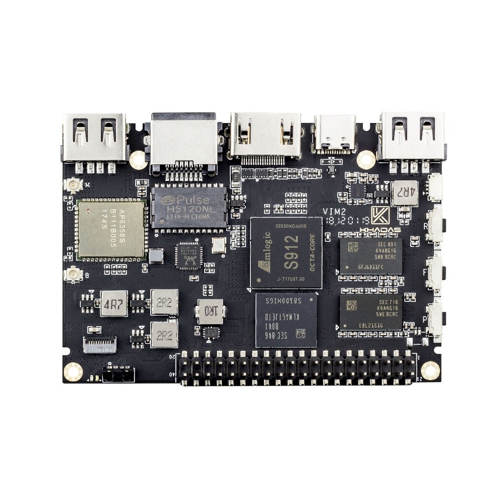 Khadas VIM2 Basic Powerful Single Board Computer Octa Core with MIMOx2 WiFi AP6356S WOL Amlogic S912