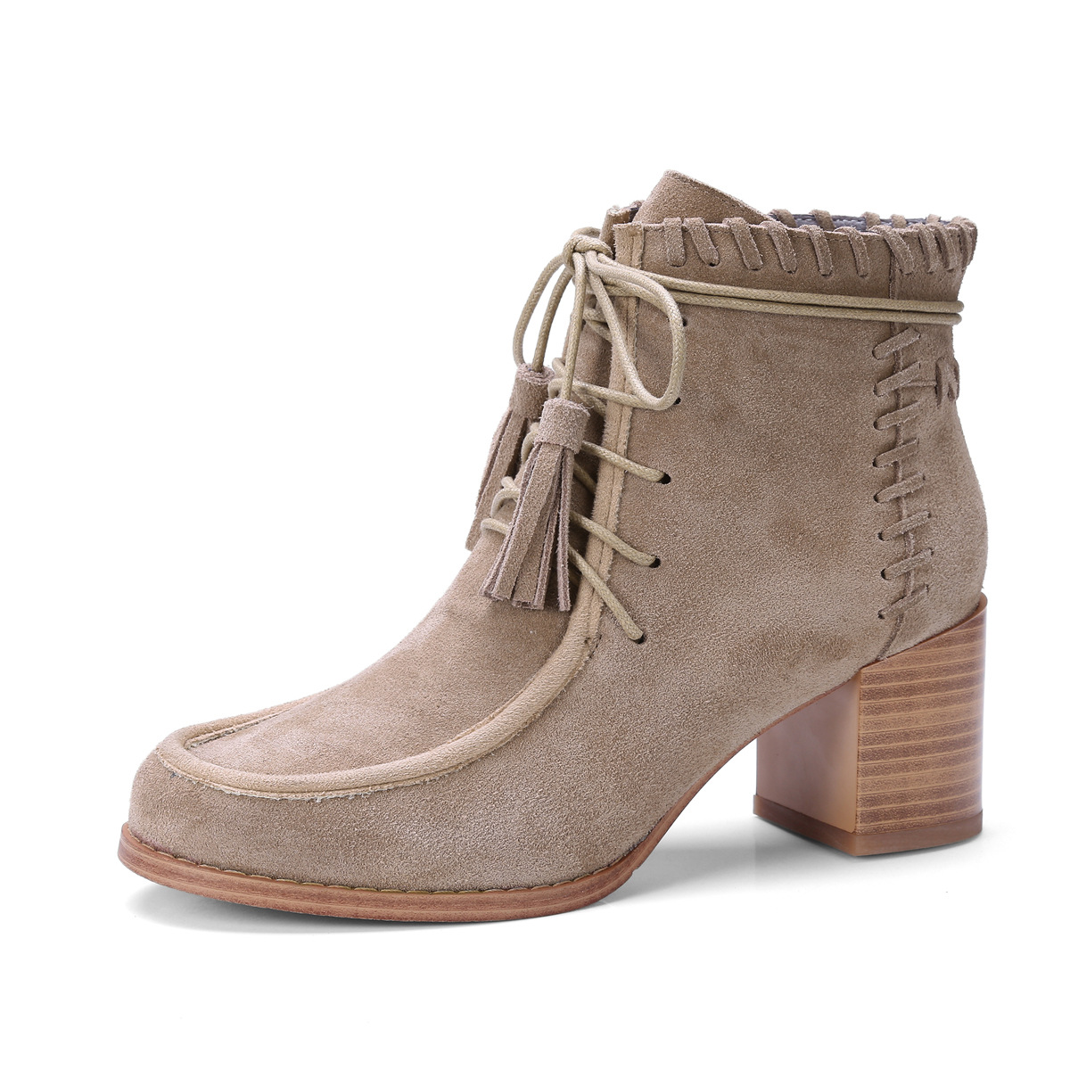 Women Lace up Suede High Heels Snow Ankle Martin Boots Bohemia Fringe Chunky Heels Round Toe Short Booties Nubuck Leather Shoes women irresistible suede color patchwork ankle boots round toe chunky heels classic side zip short boots new arrival this year