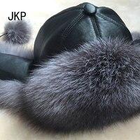 Fox fur hat women winter fur hat Leather head real fox raccoon fur winter hat