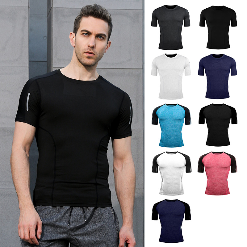 2019 new clothes tight T-shirt T-shirt sports activities males's health stadium fitness center males's shirt T-shirt health summer season shirt Operating T-Shirts, Low-cost Operating T-Shirts, 2019 new clothes tight...