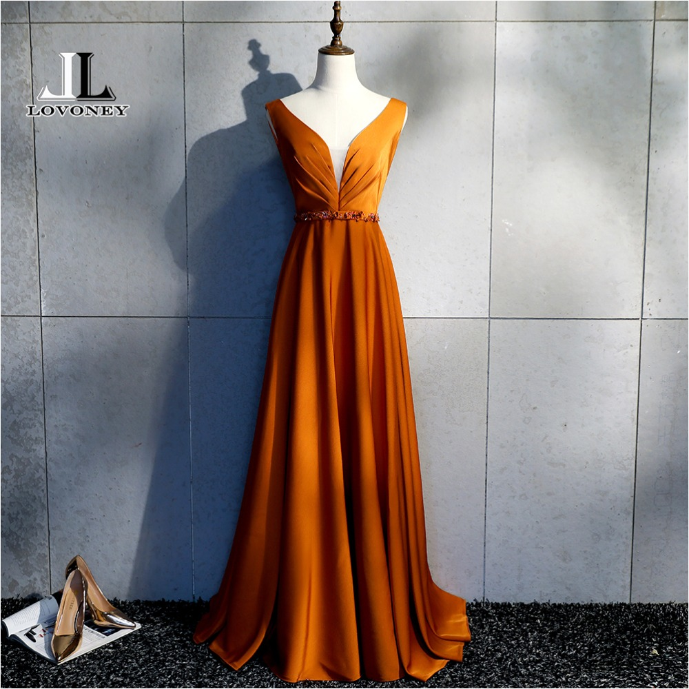 LOVONEY Sexy Open Back Long Evening Dresses with Beading Deep V Neck Formal Dress Occasion Party