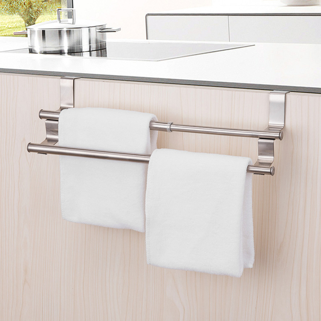 Door Behind Stainless Steel Hanging Rod Kitchen Cabinet Back Towel Rack Bathroom Retractable